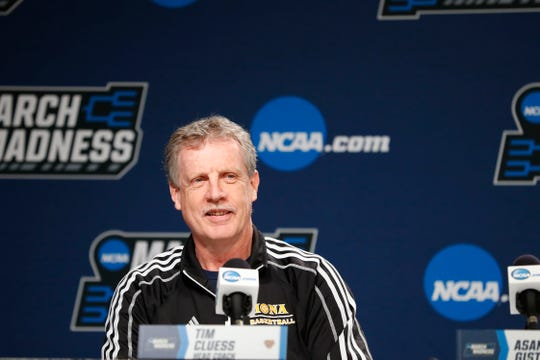 Mar 21, 2019; Columbus, OH, USA; Iona Gaels head coach Tim Cluess speaks with the media during practice before the first round of the 2019 NCAA Tournament at Nationwide Arena. Mandatory Credit: Rick Osentoski-USA TODAY Sports