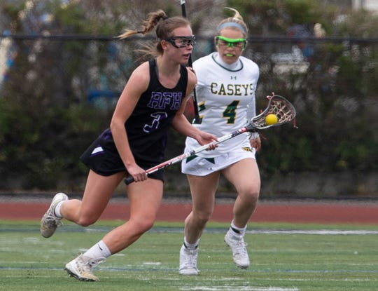 Rumson/Fair Haven Girls Lacrosse vs Red Bank Catholic in Red Bank, NJ, on April 12, 2019.