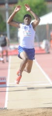 Sean Germany, shown here competing for Cooper in the triple jump at the Region I-5A meet in 2015 at Texas Tech's Fuller Track in Lubbock, continues to shine for the McMurry track team.