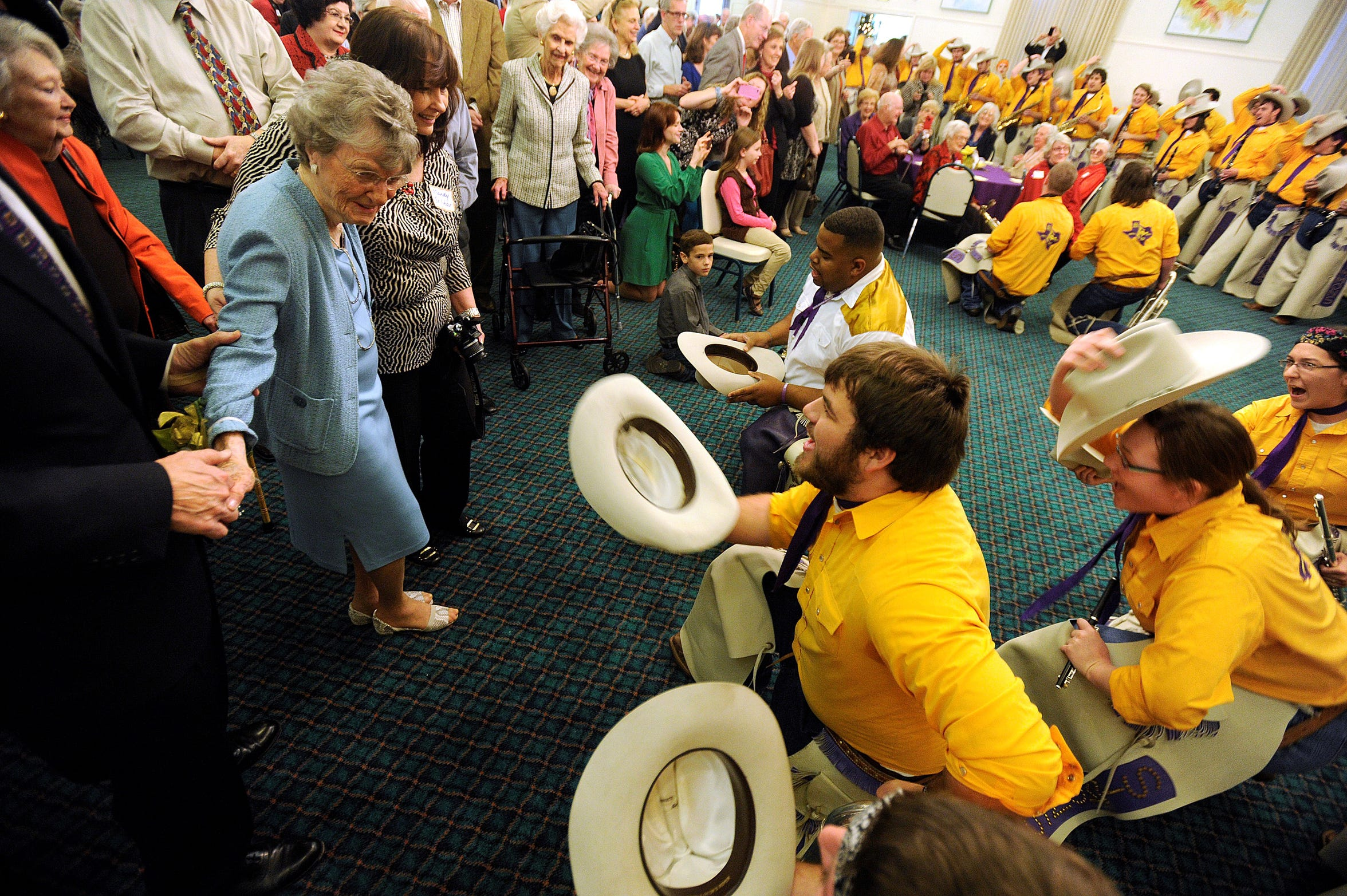 The Hardin-Simmons University Cowboy Band serenades Dr. Virginia Connally for her 100th birthday party Dec. 8, 2012.