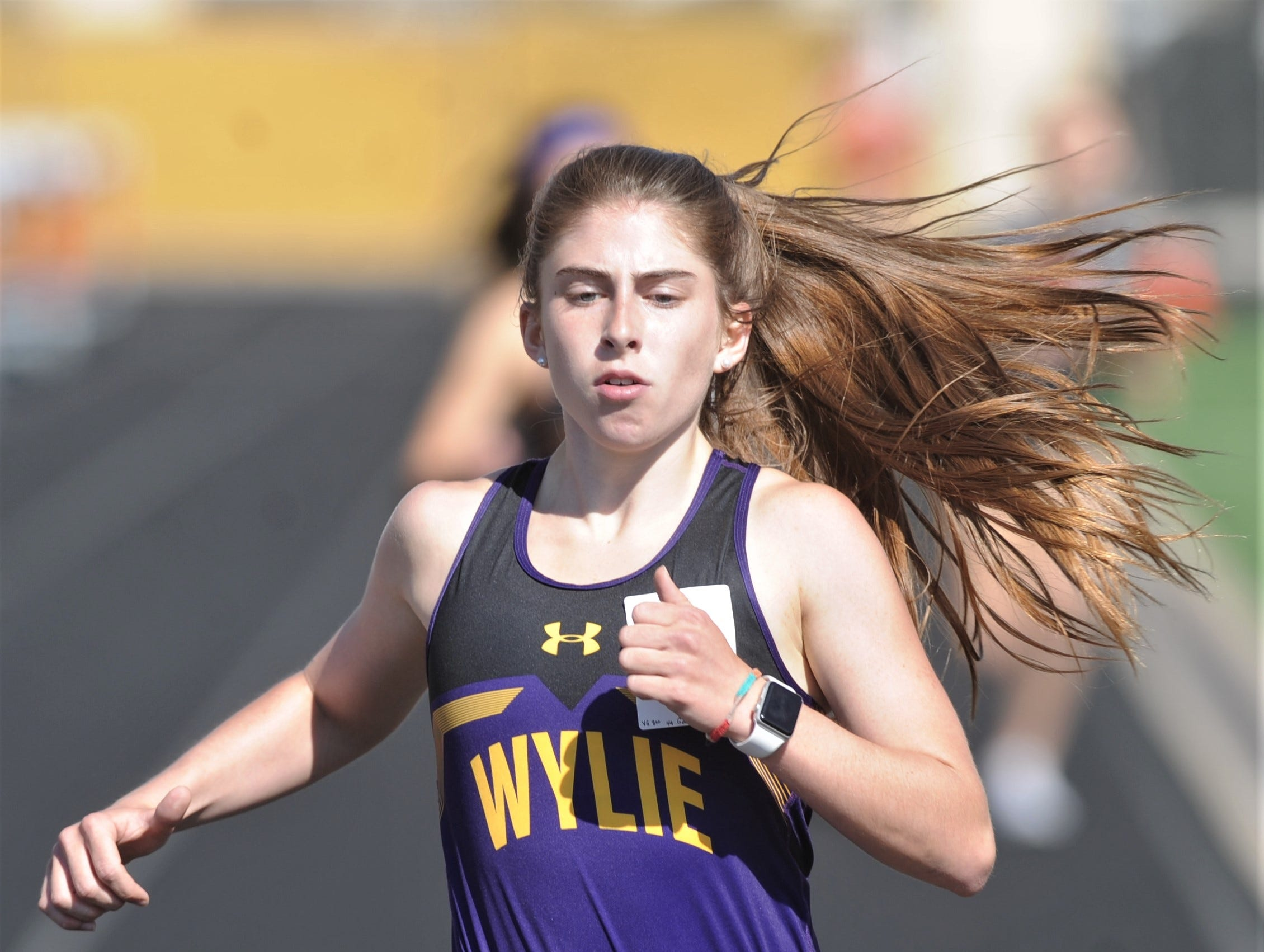 Wylie's Abbigayle Gollihar wins the 800 meters at the District 4-5A track and field meet on Thursday, April 3, 2019, at Aledo's Bearcat Stadium. She turned in a winning time of 2:23.70 to beat out teammate Leandra Benton (2:26.31).