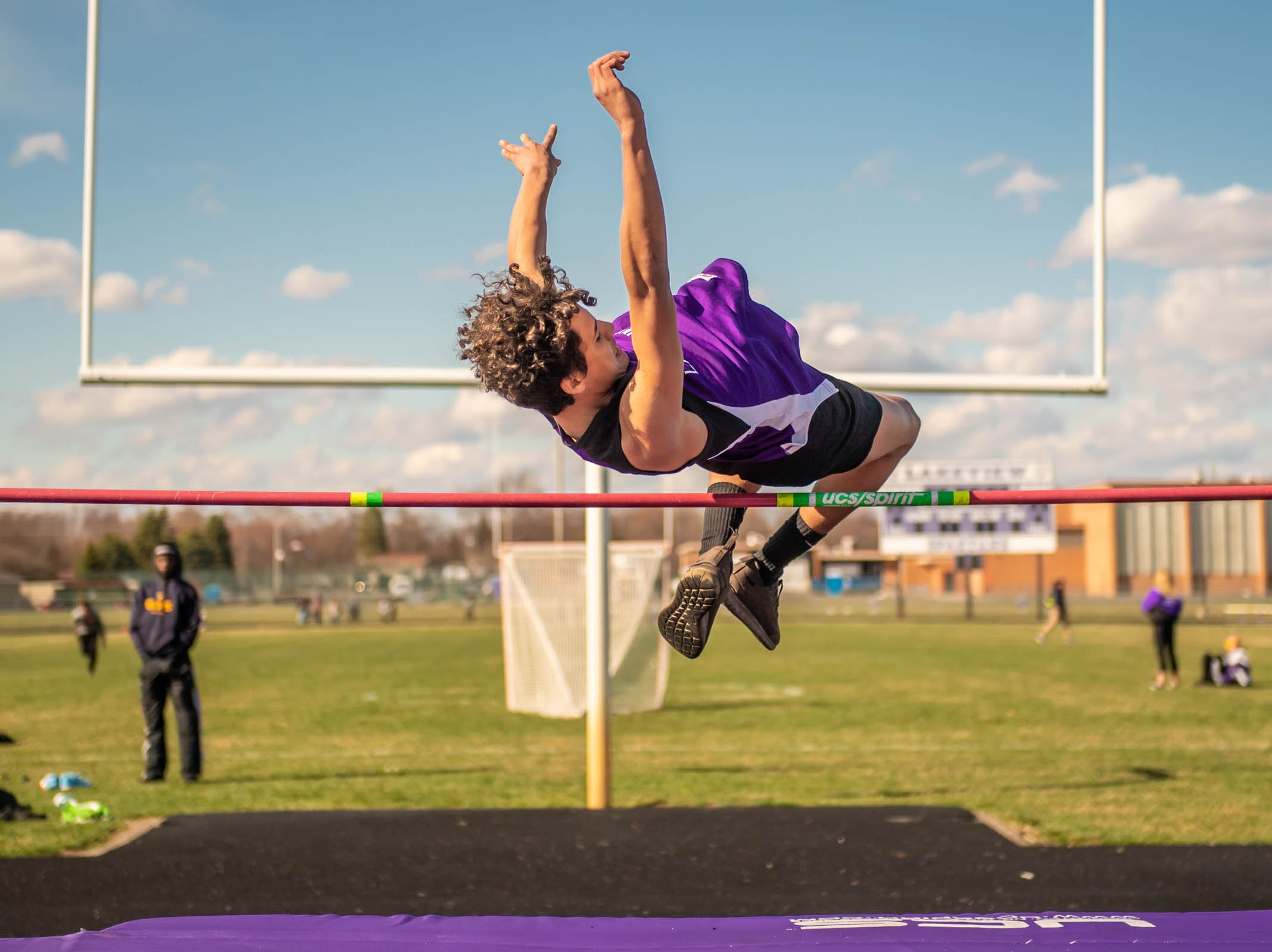 Lakeview's Bomani Guy competes in the high jump at Lakeview High School during a dual meet held on 4/9/19.