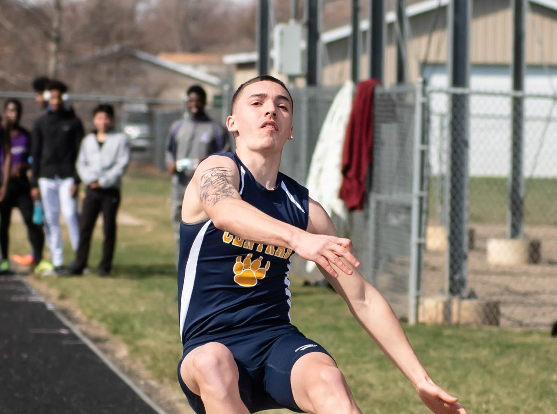 Battle Creek Central's Tagen Sims competes in the long jump at Lakeview High School during a dual meet held on 4/9/19.