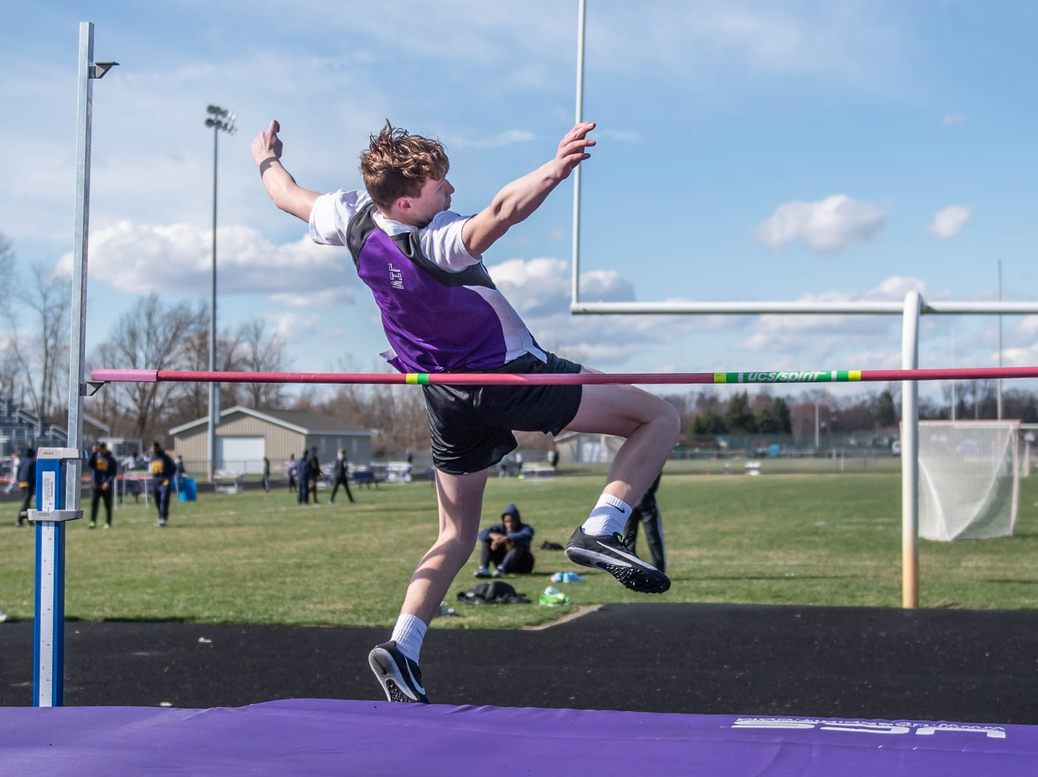 Lakeview's Drake Morris competes in the high jump at Lakeview High School during a dual meet held on 4/9/19.