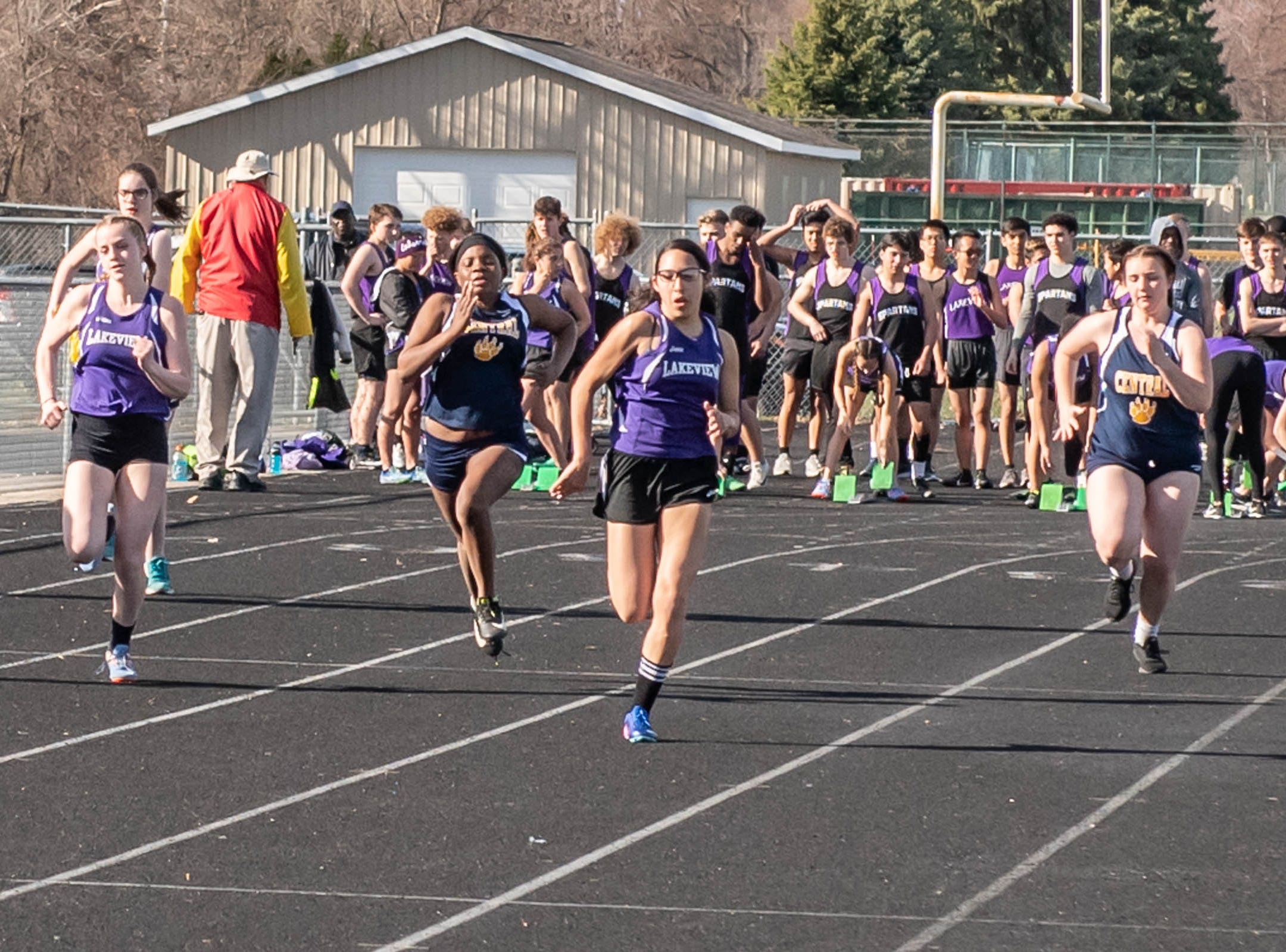 Lakeview and Battle Creek Central runners compete at Lakeview High School during a dual meet held on 4/9/19.