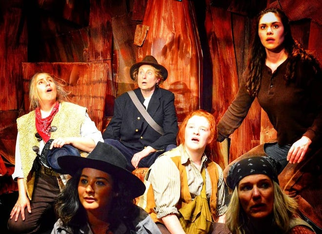 """Clockwise from upper left, Erin Lamb, Michelle Hensel, Roseletta Curry, Karen Anderson, Ciel Pope and Christa Holbrook in """"Men on Boats."""""""