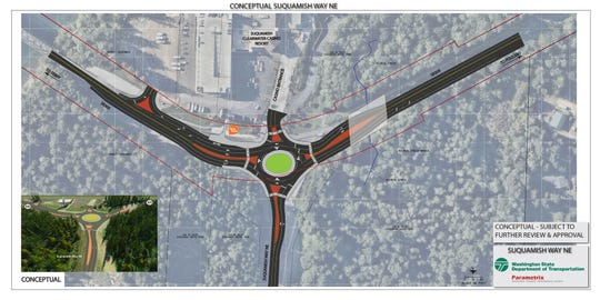 The state's Department of Transportation is considering a roundabout at Suquamish Way at the Clearwater Casino.