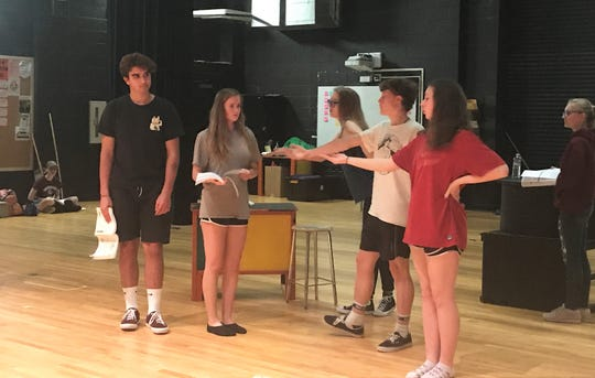"""Owen High School performing arts students rehearse for their May 9 - 10 performance the musical """"She Loves Me."""""""
