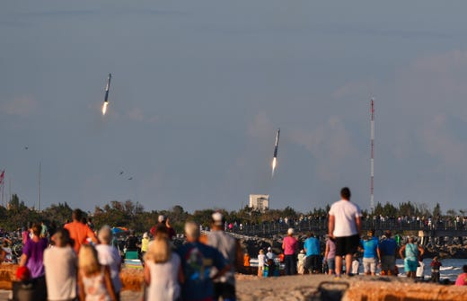 View of Cape Canaveral: Falcon Heavys side boosters return to Cape Canaveral Air Force Station on Thursday, April 11, 2019.
