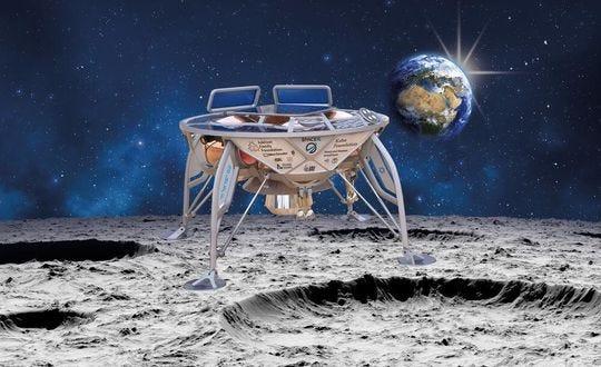 "A rendering of the SpaceIL / Israel Aerospace Industries lunar lander, also known as ""Beresheet."""