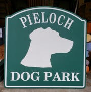 The Pieloch Dog Park sign.