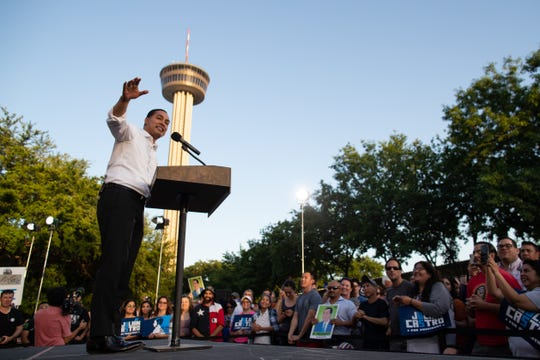 Presidential candidate Julian Castro holds his People First rally in San Antonio, Texas, on Wednesday, April 10, 2019. Earlier in the day President Trump hosted a fundraiser in San Antonio.