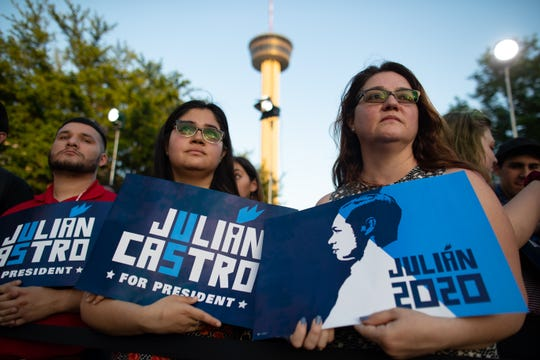 People attend presidential candidate Julian Castro's People First rally in San Antonio, Texas, on Wednesday, April 10, 2019. Earlier in the day President Trump hosted a fundraiser in San Antonio.