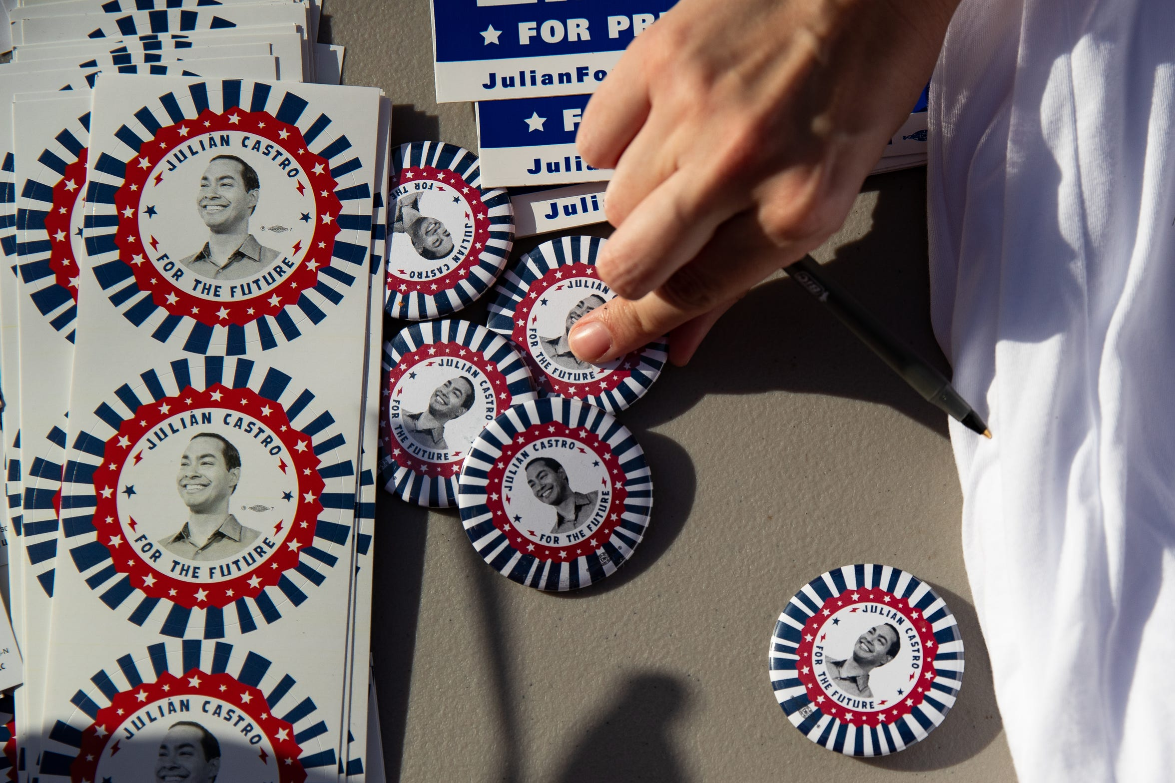 Presidential candidate Julian Castro political merchandise for sale before his People First rally in San Antonio, Texas on Wednesday, April 10, 2019. Earlier in the day President Trump also hosted a fundraiser in San Antonio Texas.