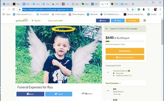 A screenshot shows a GoFundMe page for Ryu Barrientes' funeral expenses. Barrientes died on April 7, 2019 after he was pulled out of a pool at a birthday party.