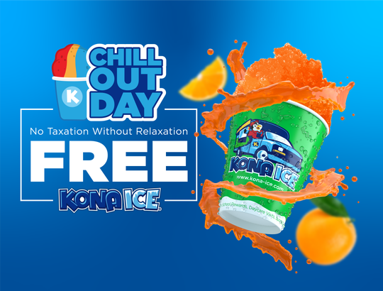 Kona Ice will hold Chill Out Day on April 15. Trucks will serve free shave ice to celebrate the end of tax season.