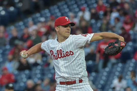 Philadelphia Phillies starting pitcher Nick Pivetta (43) was sent to Triple-A Lehigh Valley on Wednesday.