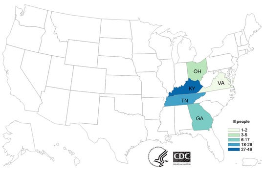 A map by the Centers for Disease Control and Prevention shows states impacted by an E. coli oubreak, including Kentucky and Ohio.