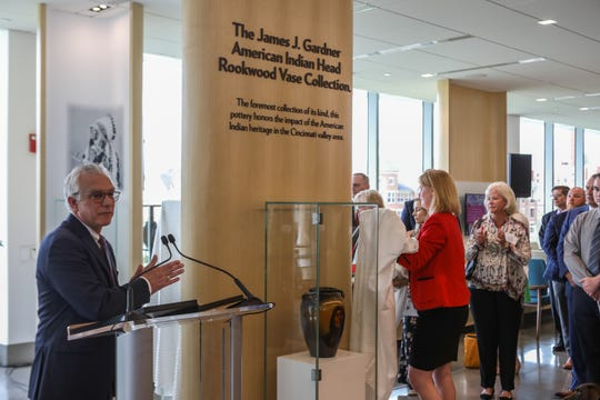 President of the UC Foundation, Peter Landgren, speaks before the unveiling of the institute's Gardner Rookwood Pottery Collection. All pieces were donated from James J. Gardner's private collection.