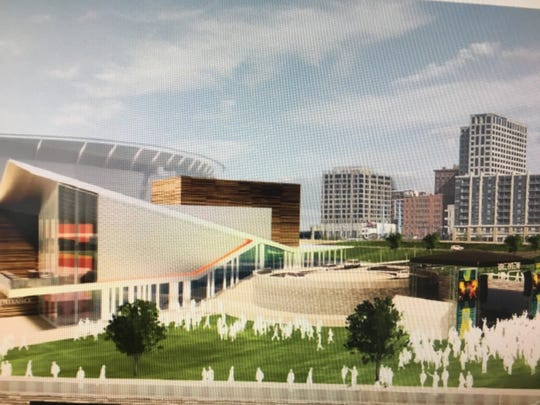 An artist's rendering of a public park and other infrastructure development for a proposed music venue at The Banks.
