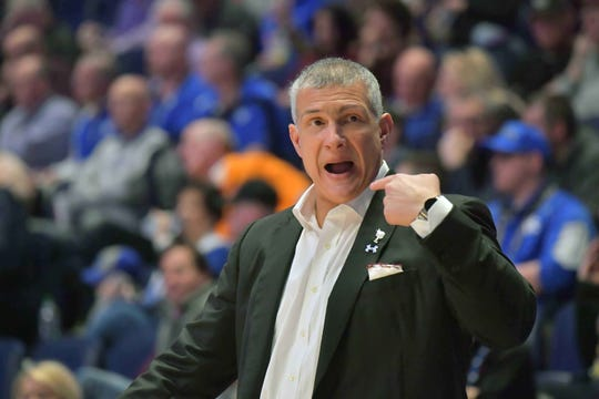 South Carolina Gamecocks head coach Frank Martin during the first half of game eight against the Auburn Tigers in the SEC conference tournament at Bridgestone Arena.