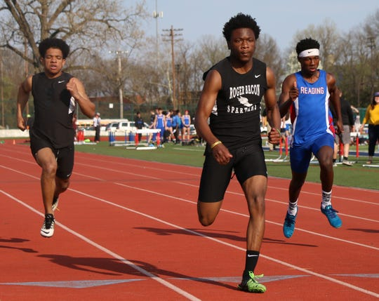 Keith Gause, a senior sprinter from Roger Bacon, wins the 100-meter race at the Norwood Invitational Track Meet April 10.