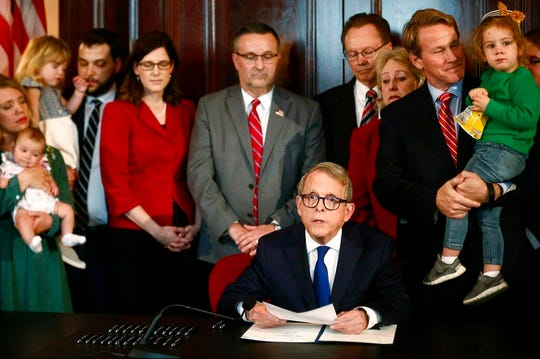 "Ohio Gov. Mike DeWine on Thursday signed the ""heartbeat bill,"" which would ban most abortions in Ohio."