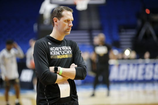 Northern Kentucky Norse head coach John Brannen watches during an off-day practice session at the BOK Center in downtown Tulsa on Thursday, March 21, 2019. NKU takes on Texas Tech Friday in the NCAA Tournament First Round. The Norse makes its second tournament appearance in three years since becoming a Division I team.