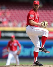 Cincinnati Reds relief pitcher Zach Duke (32) delivers in the sixth inning of an MLB baseball game against the Miami Marlins, Thursday, April 11, 2019, at Great American Ball Park in Cincinnati.