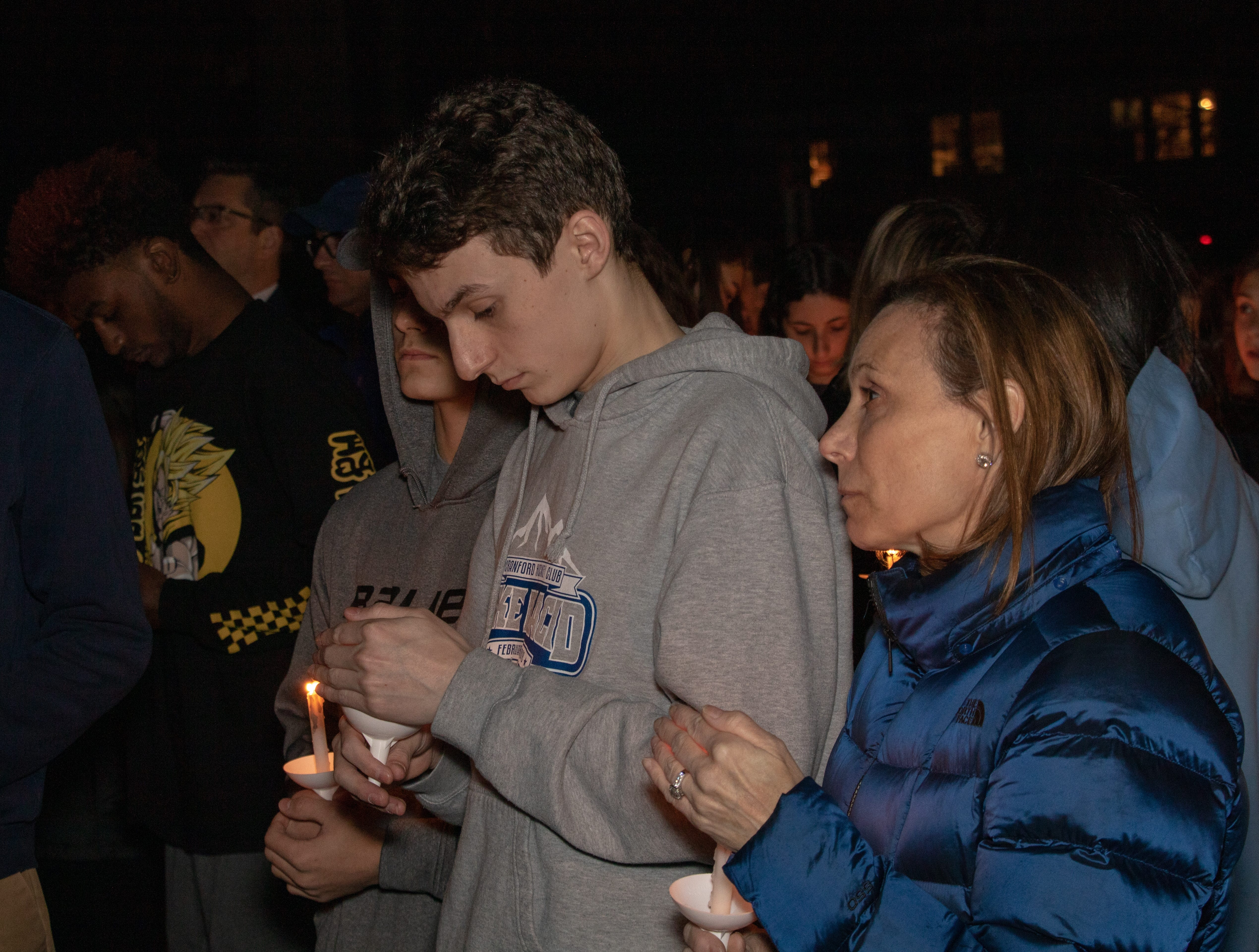 A vigil was held for Westfield High School Principal Dr. Derrick Nelson who died trying to save the life of a child he did not know at the school at 8:15 p.m. today.