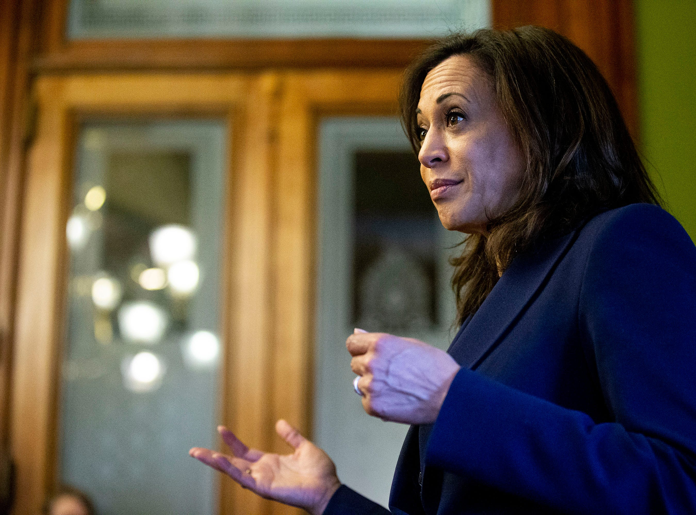 Sen. Kamala Harris, D-CA, meets with a group of young people who work at the Iowa Captiol while making campaign stops on Thursday, April 11, 2019, in Des Moines.