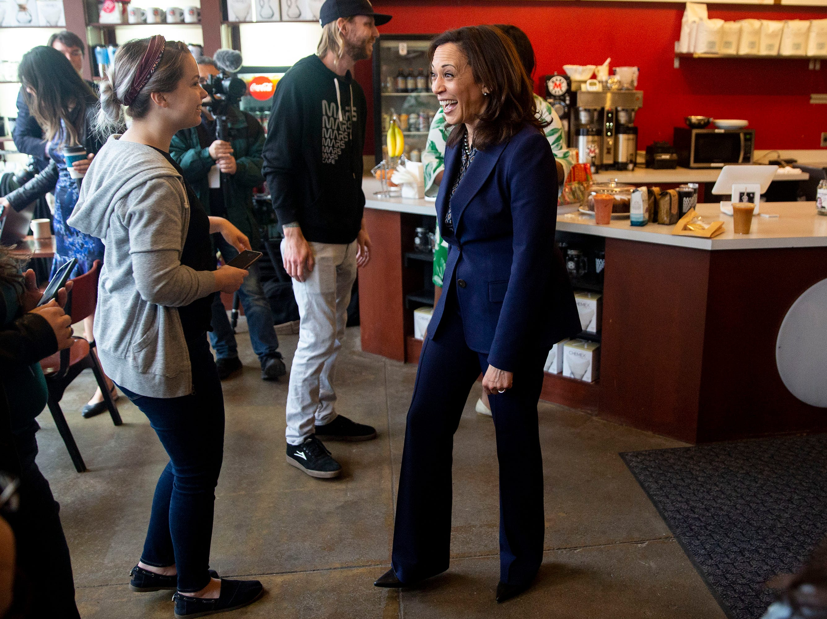 Sen. Kamala Harris, D-CA, visits Mars Cafe on Thursday, April 11, 2019, in Des Moines' Drake neighborhood.