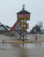 Winds were so strong in Lake Mills, it blew over a canopy at Casey's General Store on Thursday.