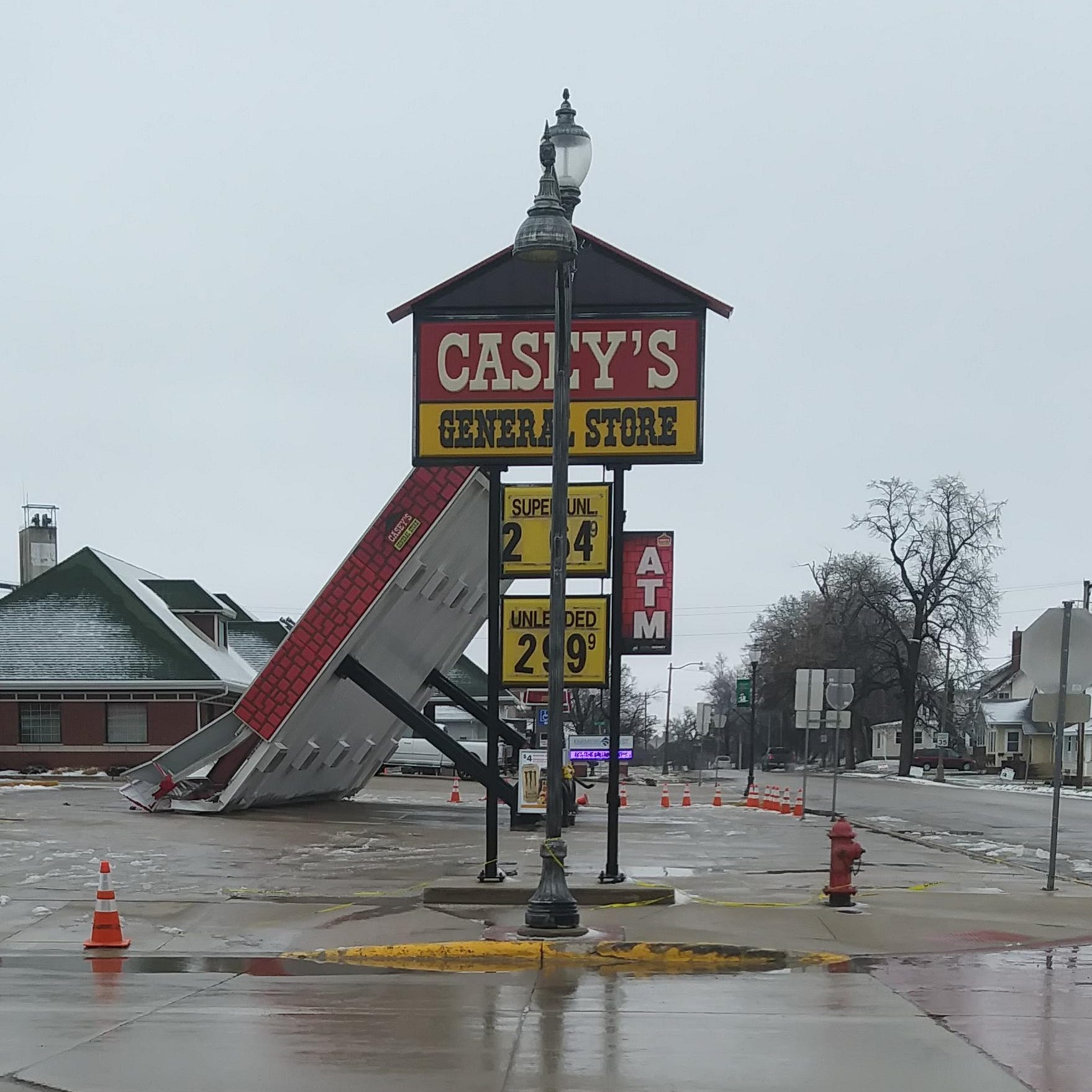 Iowa winds were so strong Thursday, they blew over a Casey's General Store canopy