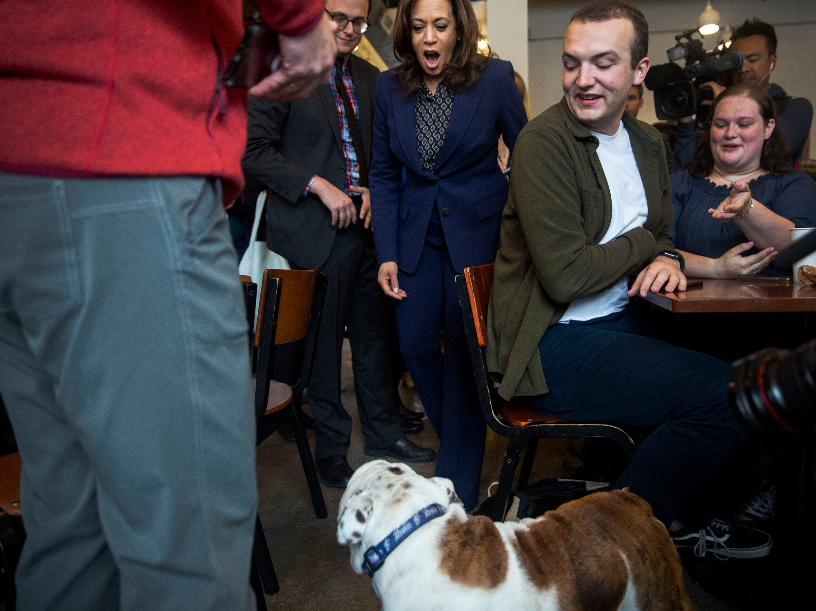 Sen. Kamala Harris, D-CA, meets Griff, the living mascot of Drake University while making a campaign stop on Thursday, April 11, 2019, to Mars Cafe in Des Moines' Drake neighborhood.