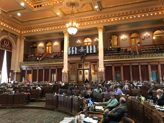 Members of the Iowa House debate the health and human services budget bill, which includes $150 million in additional payments to the private companies that manage the state's Medicaid program, on Thursday, April 11, 2019.