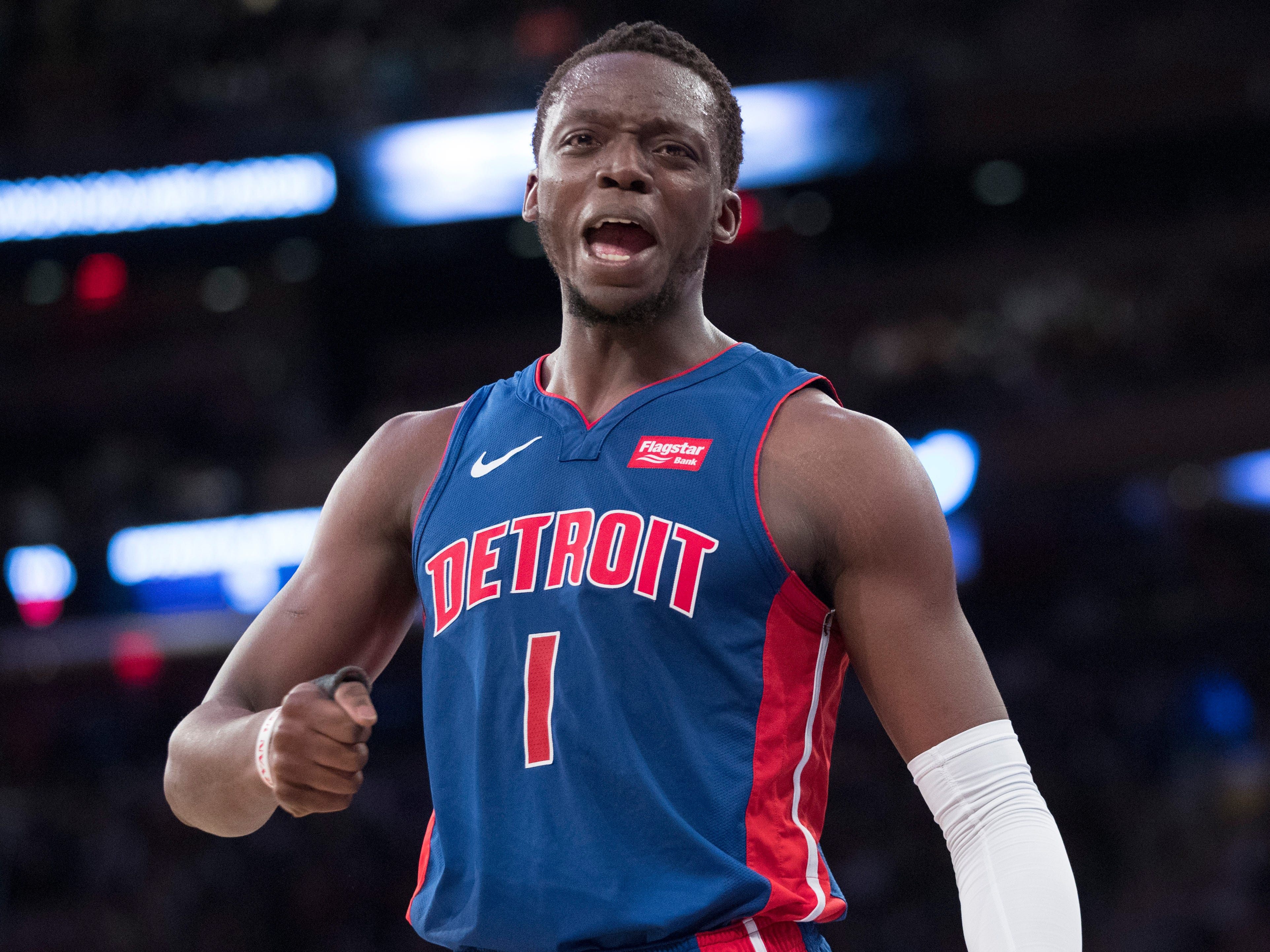 Detroit Pistons guard Reggie Jackson reacts during the first half of the team's NBA basketball game against the New York Knicks, Wednesday, April 10, 2019, at Madison Square Garden in New York.