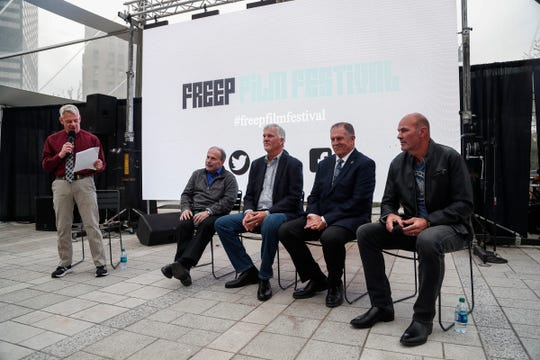 Former Detroit Free Press sports editor Gene Myers speaks with sport journalist Joe Lapointe, former Detroit Tigers players Dave Rozema, Dan Petry Kirk Gibson during the panel discuss after The Roar of '84 world premiere at Beacon Park in Detroit, Thursday, April 11, 2019.