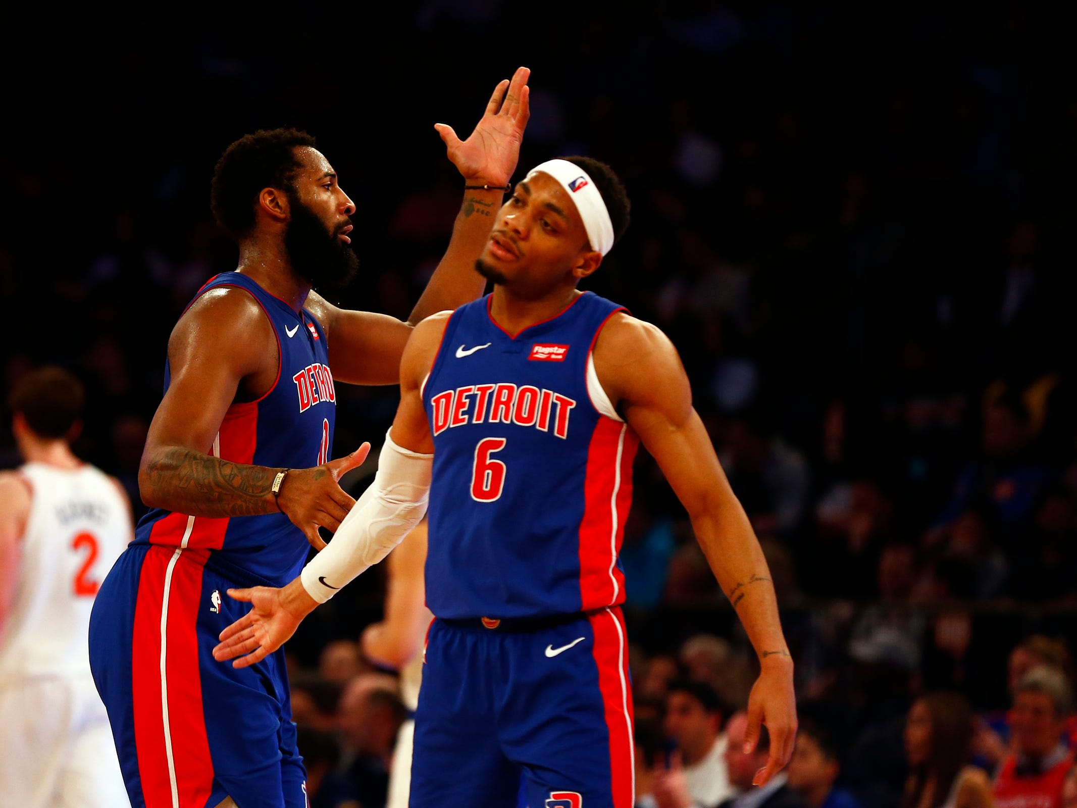Detroit Pistons center Andre Drummond (0) and Detroit Pistons guard Bruce Brown (6) celebrate against the New York Knicks during the second half at Madison Square Garden on Wednesday, April 10, 2019.