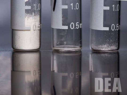 Lethal doses of heroin, carfentanil and fentanyl. Fentanyl is 50 times stronger than heroin, according to the U.S. Centers for Disease Control and Prevention.