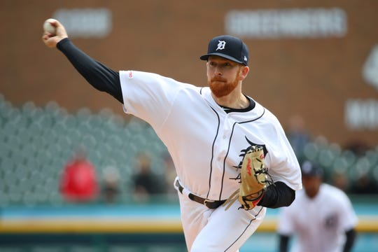 Tigers pitcher Spencer Turnbull throws in the first inning pitch on Thursday, April 11, 2019, at Comerica Park.