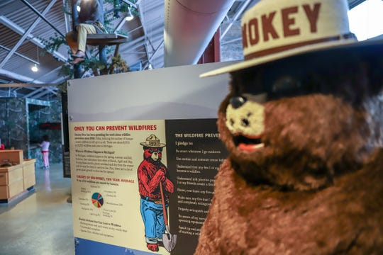 Smokey Bear informs people about the danger of wildfires and is celebrating his 75th anniversary by going digital and is seen at the Michigan Outdoor Center in Detroit on Thursday, April 11, 2019.
