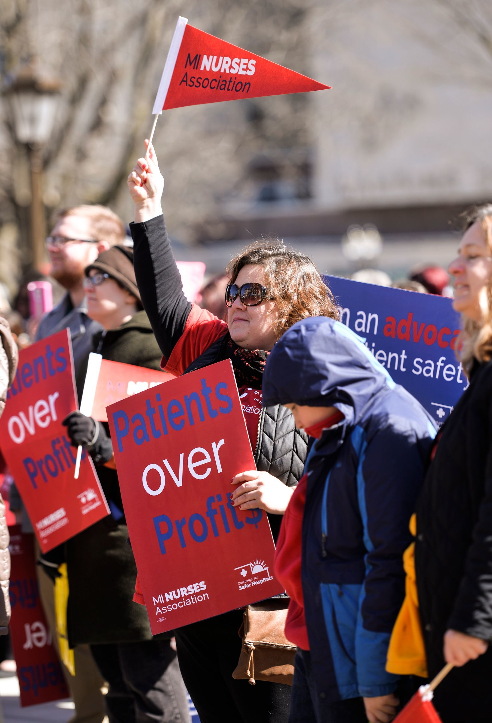 Future Washtenaw County Commissioner Katie Scott was among 500 nurses who rallied at the state Capitol in this March 22, 2017 photo.