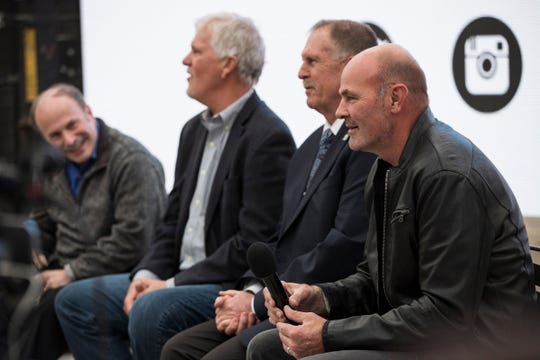 Former Detroit Tigers Kirk Gibson, right, Dan Petry, center, and Dave Rozema, center left, and sport journalist Joe Lapointe speaks during the panel discuss after The Roar of '84 world premiere at Beacon Park in Detroit, Thursday, April 11, 2019.