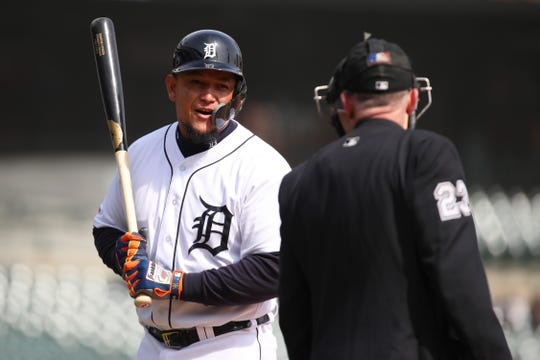 Tigers first baseman Miguel Cabrera reacts to a called third strike in the ninth inning of the Tigers' 4-0 loss on Thursday, April 11, 2019, at Comerica Park.
