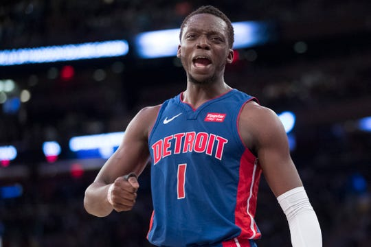 Pistons guard Reggie Jackson reacts during the first half against the New York Knicks on April 10, 2019, at Madison Square Garden in New York.