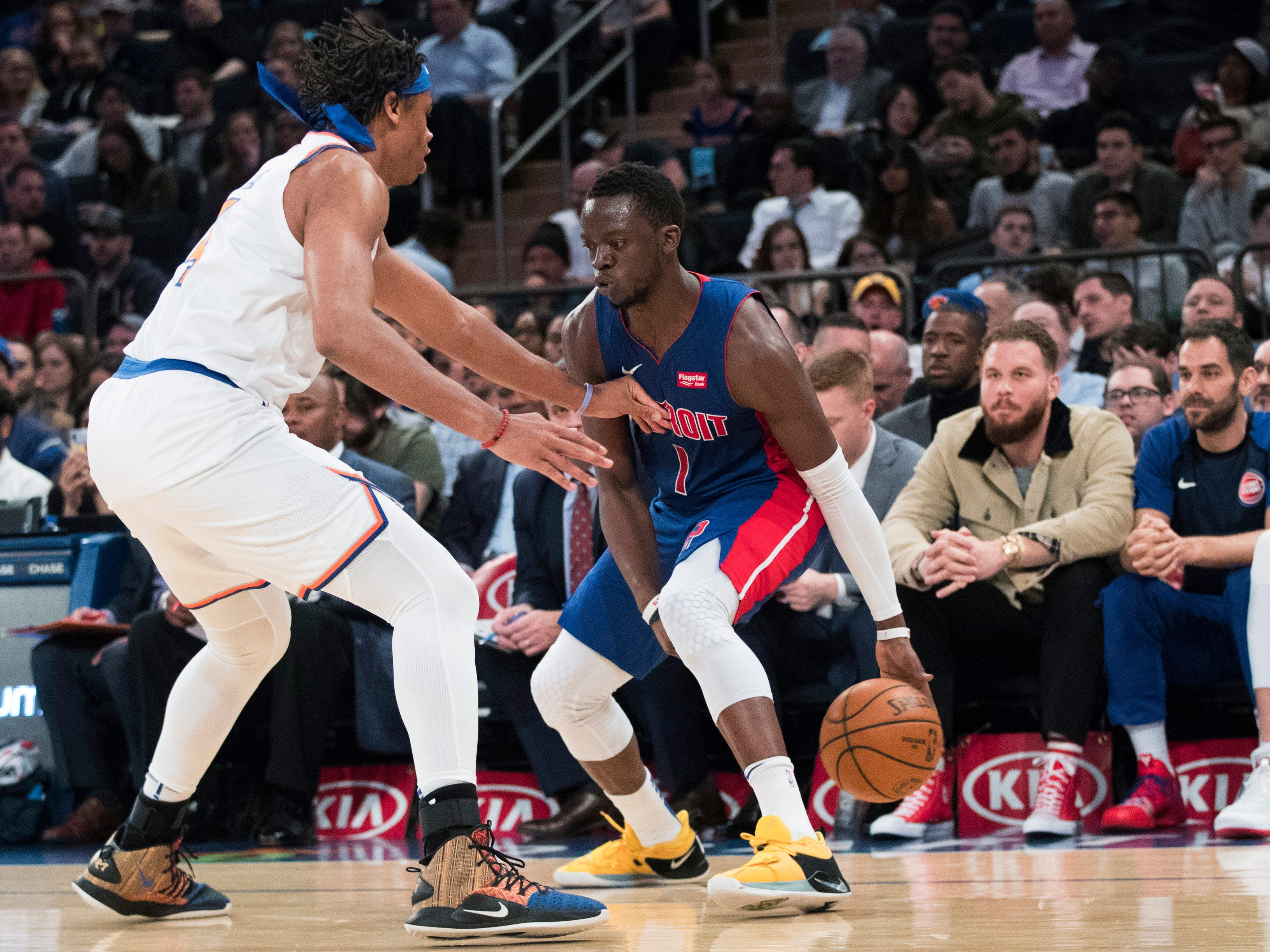 Detroit Pistons guard Reggie Jackson (1) drives against New York Knicks forward Isaiah Hicks during the first half of an NBA basketball game Wednesday, April 10, 2019, at Madison Square Garden in New York.
