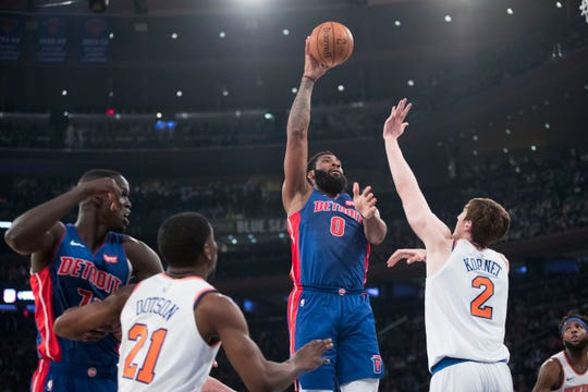 Andre Drummond shoots against the Knicks on Wednesday.