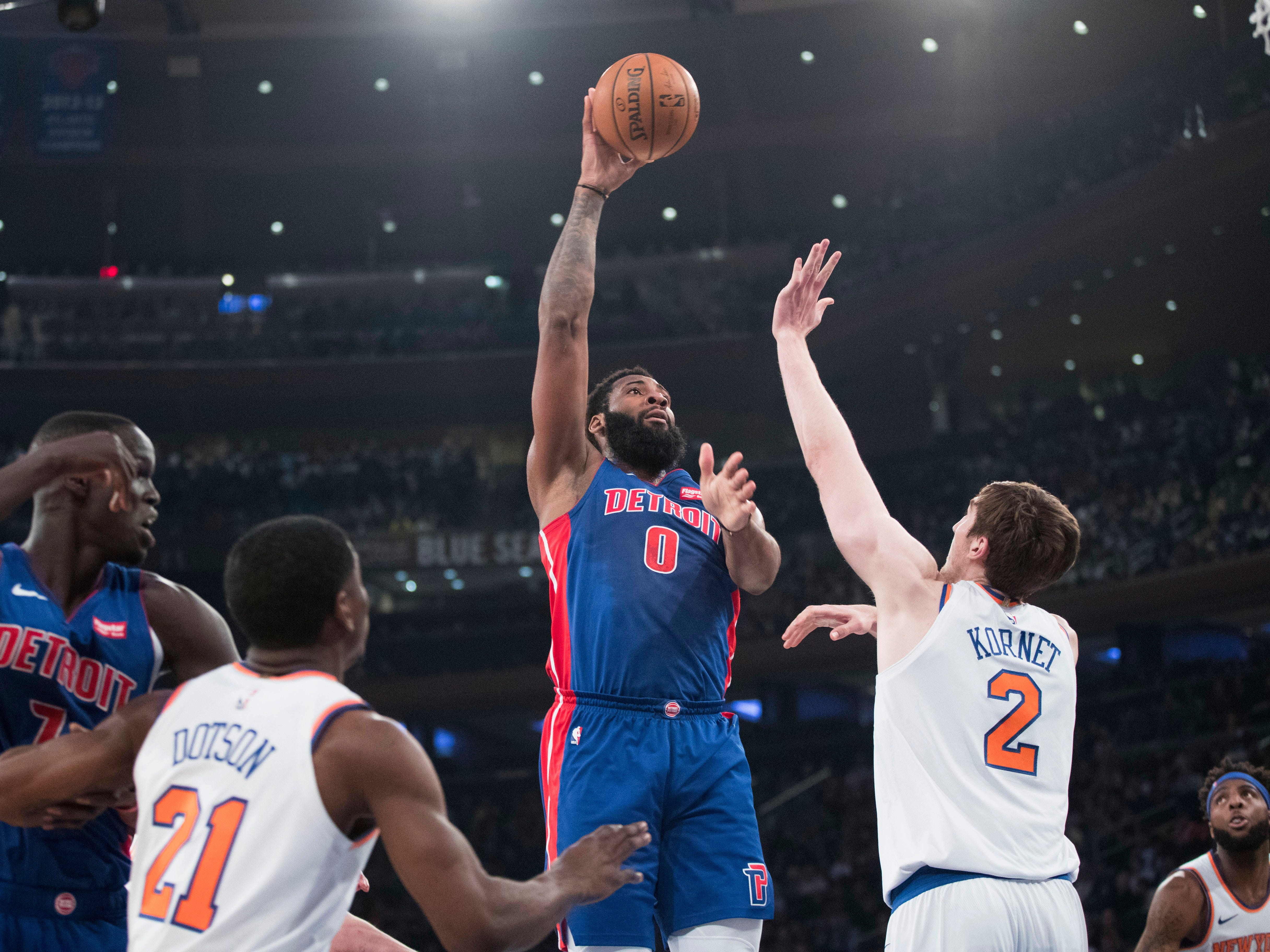 Detroit Pistons center Andre Drummond (0) goes to the basket over New York Knicks forward Luke Kornet (2) during the first half of an NBA basketball game Wednesday, April 10, 2019, at Madison Square Garden in New York.