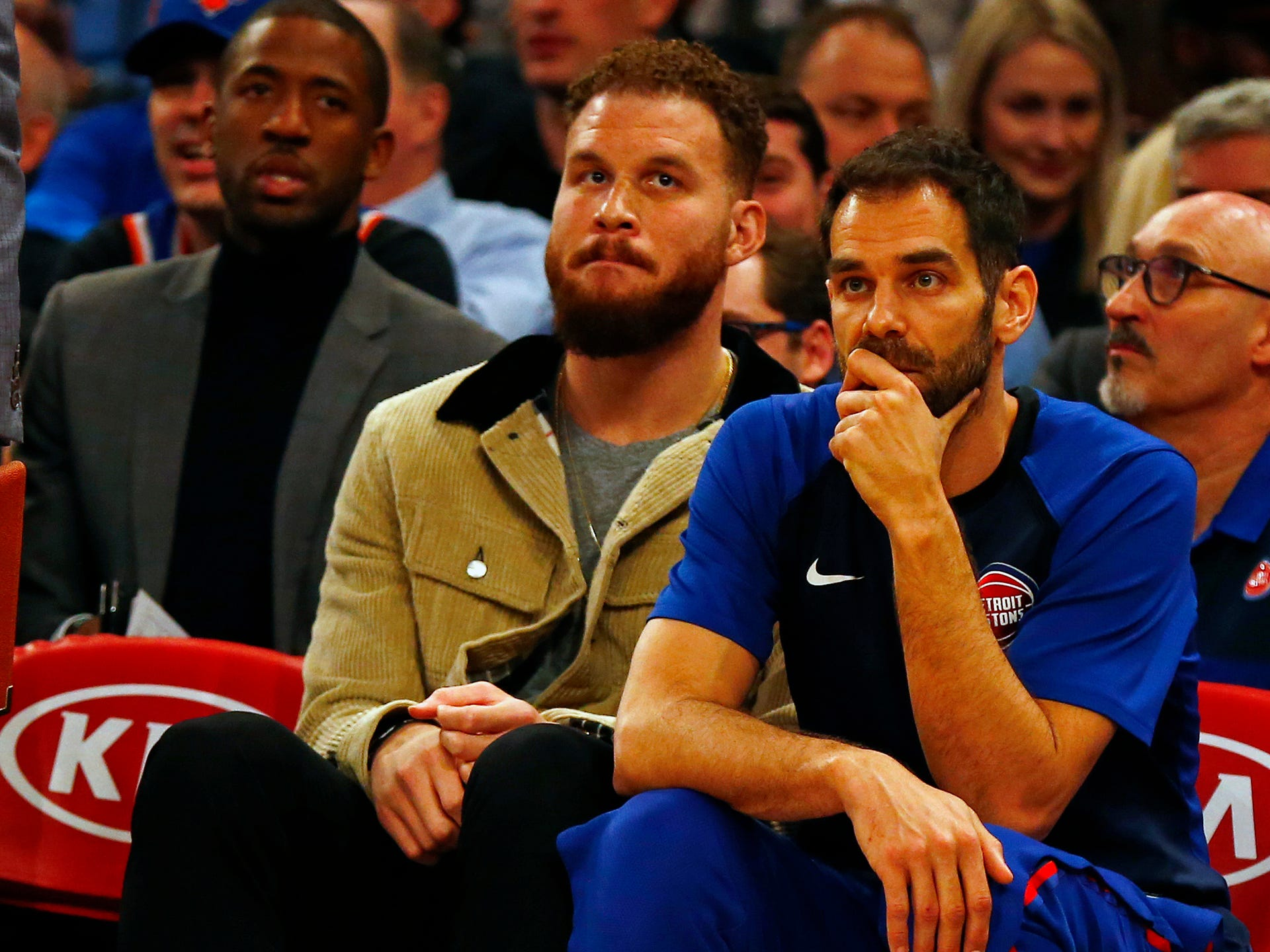 Detroit Pistons forward Blake Griffin (23) and Detroit Pistons guard Jose Calderon (81) looks on against the New York Knicks during the first half at Madison Square Garden on Wednesday, April 10, 2019.